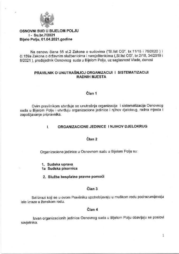 Predlog pravilnika o unutrašnjoj organizaciji i sistematizaciji Osnovnog suda u Bijelom Polju