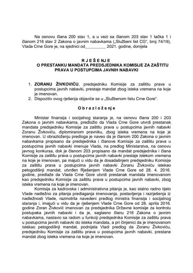 Predlog za prestanak mandata predsjednika Komisije za zaštitu prava u postupcima javnih nabavki
