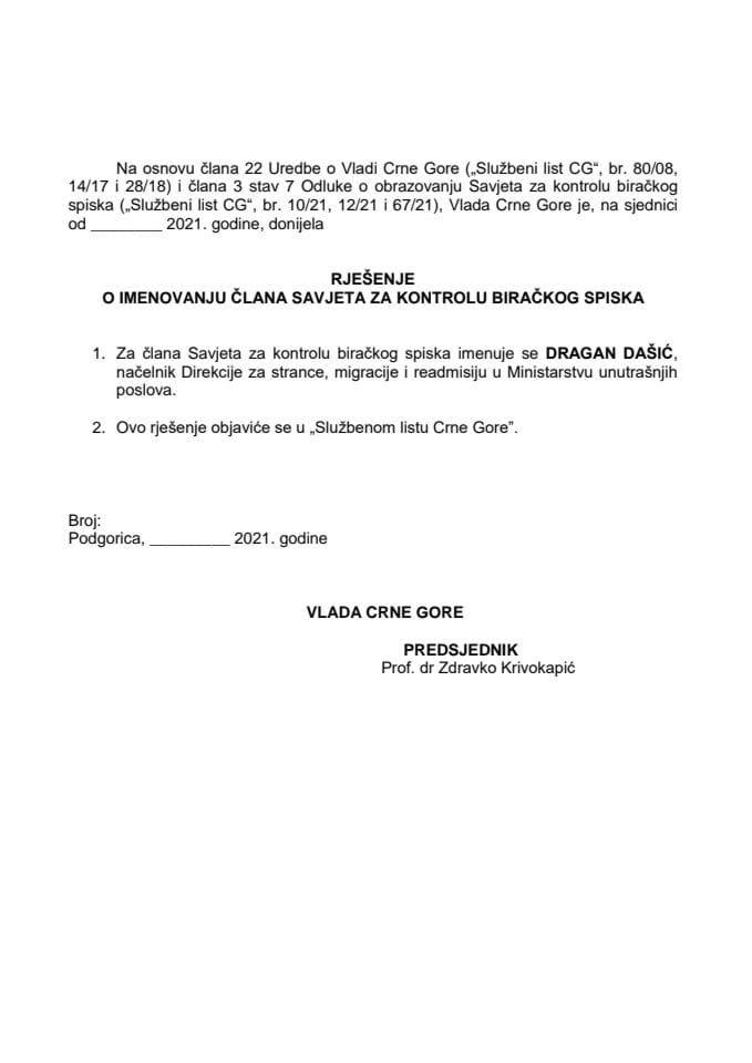 Predlog za imenovanje člana Savjeta za kontrolu biračkog spiska