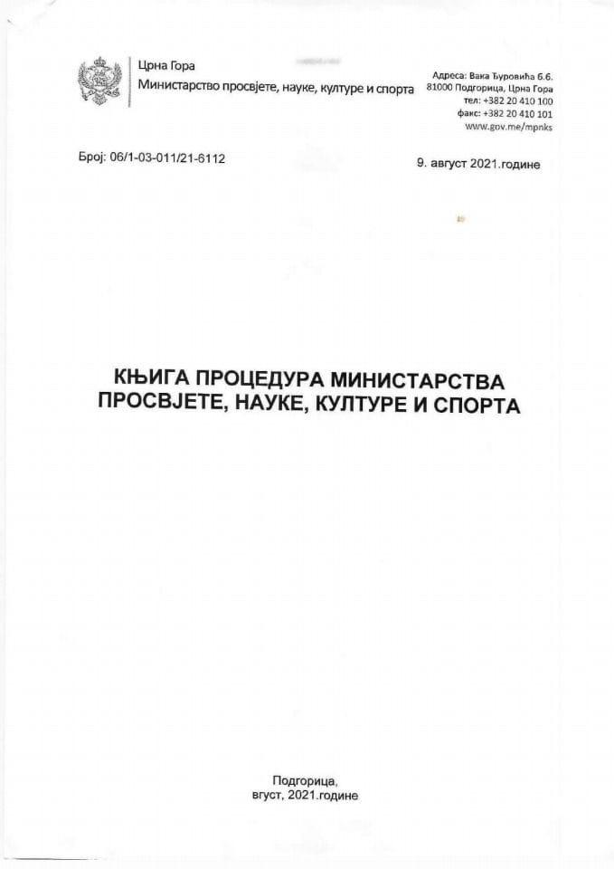 Knjiga internih procedura MPNKS
