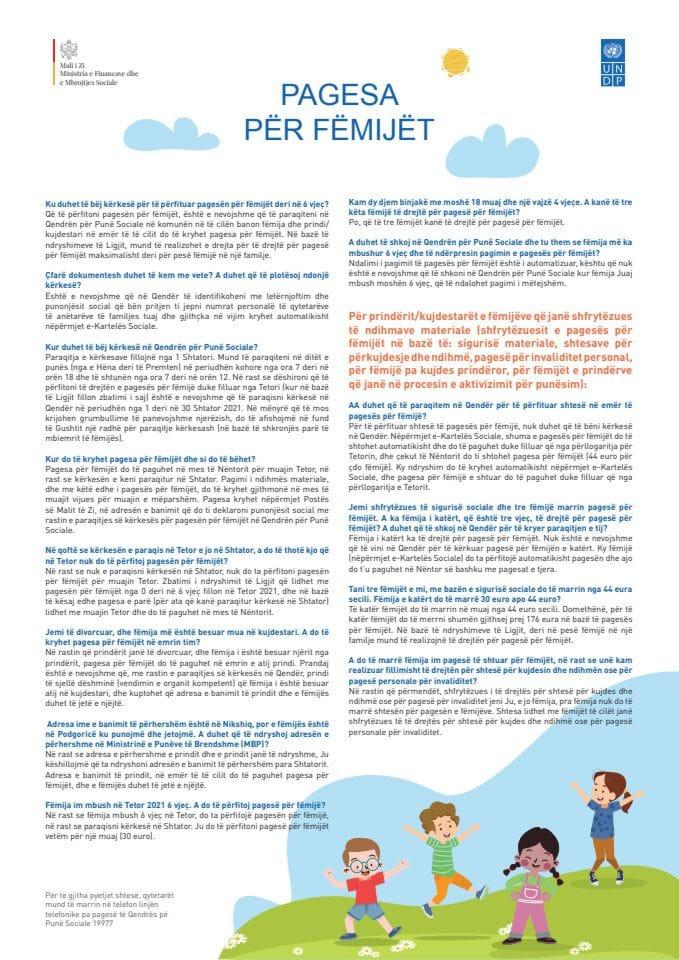 Brošura - Dječji dodatak (albanski)
