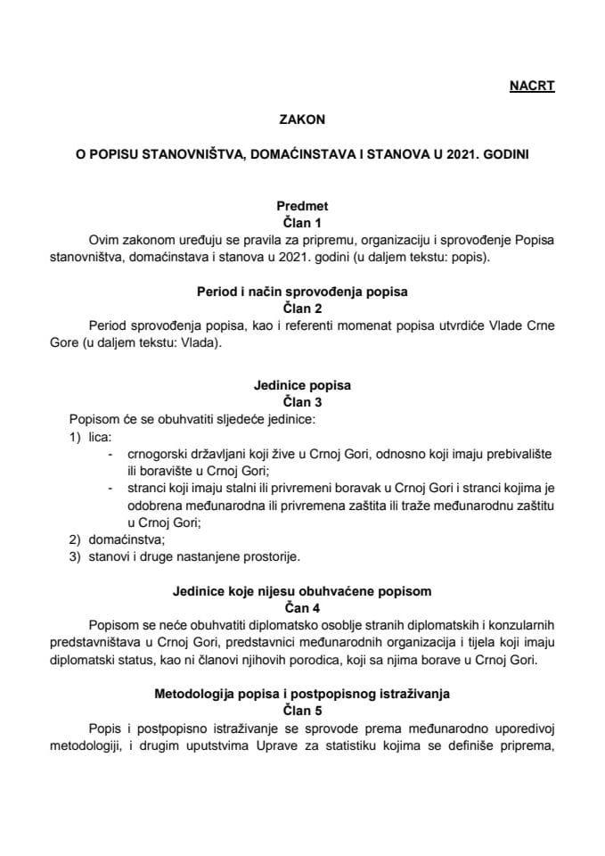 Nacrt zakona o popisu za javnu raspravu