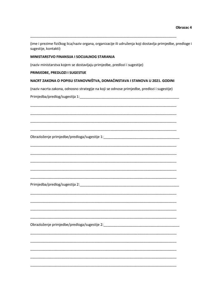 Obrazac - Primjedbe, predlozi i sugestije