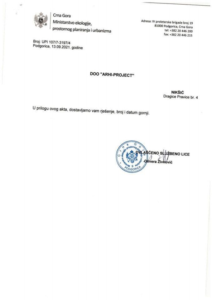Rješenja o oduzimanju-ukidanju licence - UPI 107-7-3197-4 DOO ARHI PROJECT