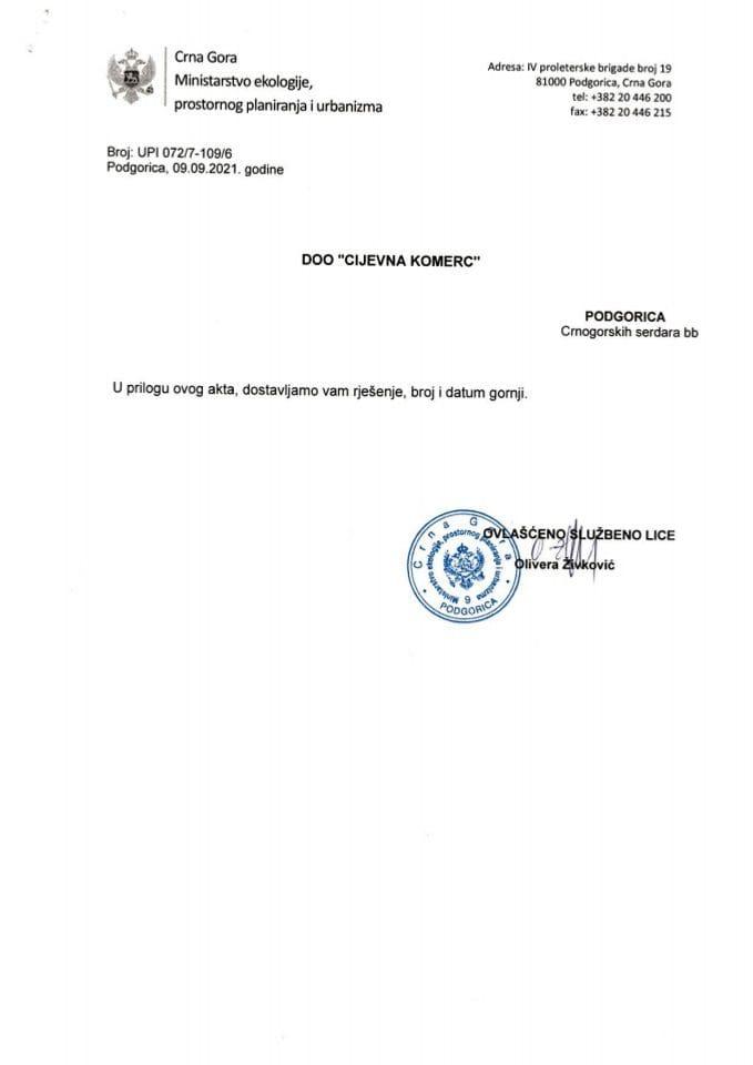 Licence projektanata i izvođača radova - UPI 072-7-109-6  DOO CIJEVNA KOMERC
