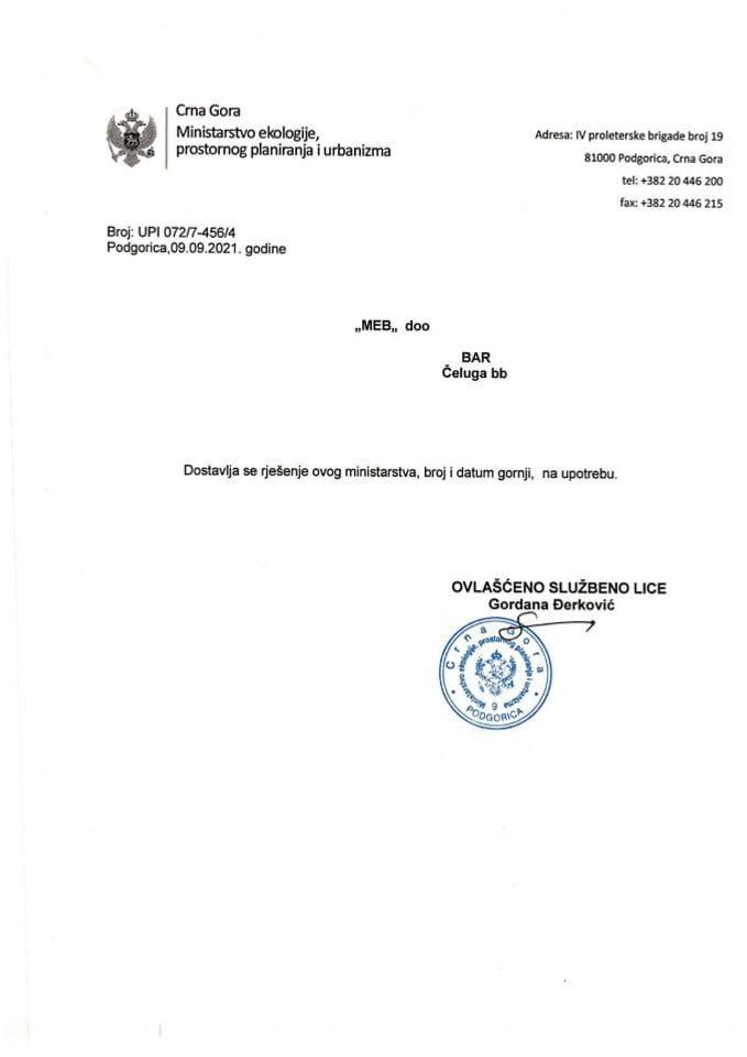 Licence projektanata i izvođača radova - UPI 072-7-456-4 DOO MEB