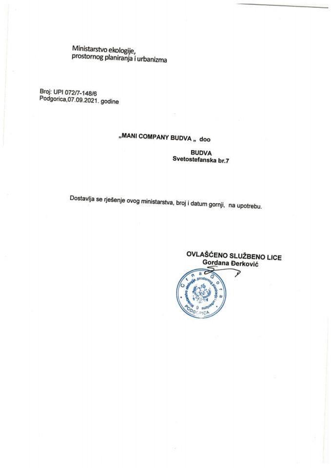 Licence projektanata i izvođača radova - UPI072-7-148-6 DOO MANI COMPANY BUDVA