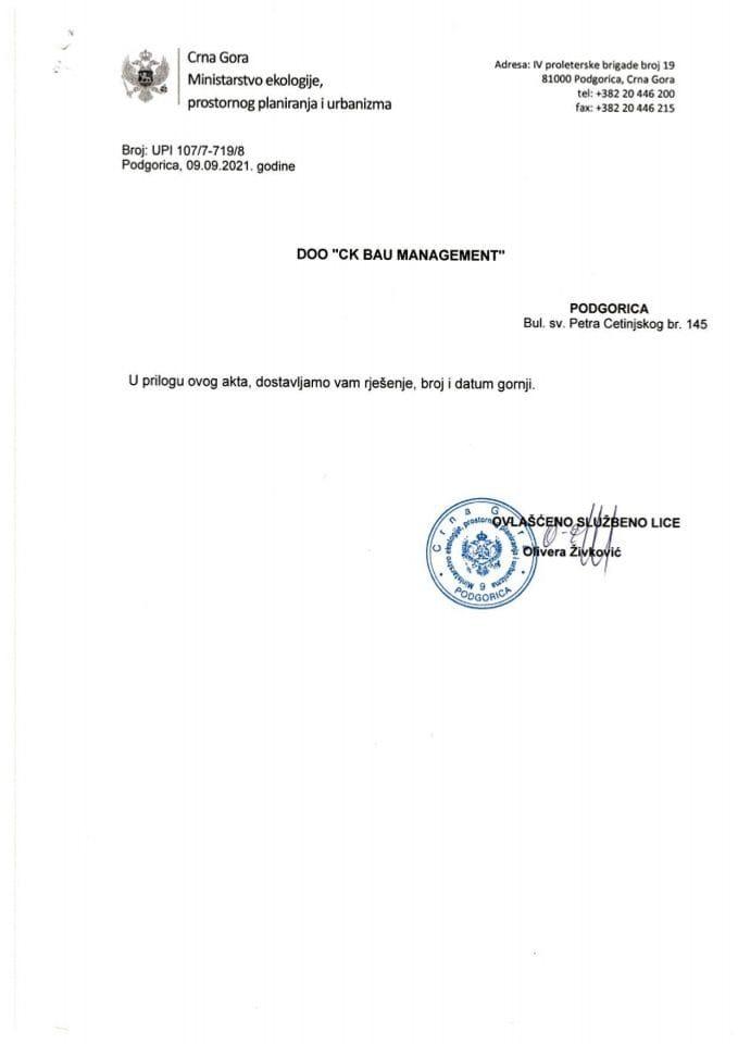 Licence projektanata i izvođača radova - UPI 107-7-719-8 DOO CK BAU MANAGEMENT