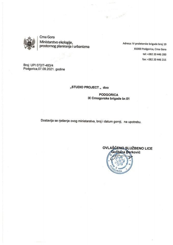 Licence projektanata i izvođača radova - UPI 072-7-483-4 DOO STUDIO PROJECT