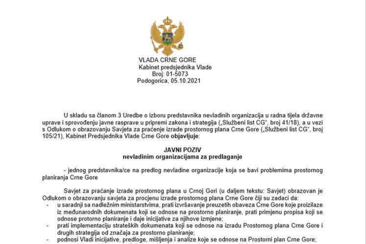 Javi poziv - predlaganje kandidata za člana Savjeta za praćenje izrade prostornog plana CG