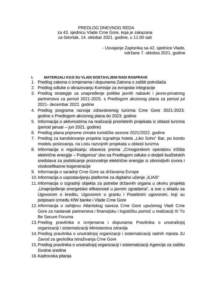 Predlog dnevnog reda za 43. sjednicu Vlade Crne Gore